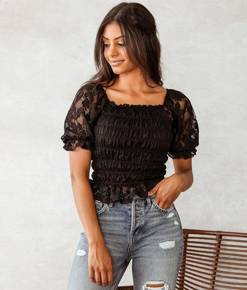 Willow & Root Ruched Lace Top front view