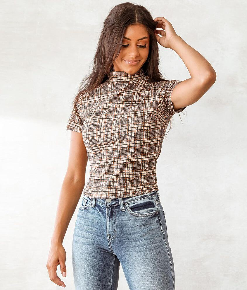 Willow & Root Plaid Mock Neck Top front view
