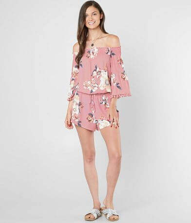 Timing Floral Off The Shoulder Romper