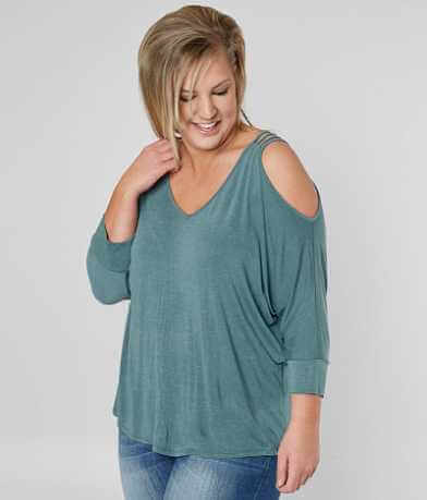 Misia Cold Shoulder Top - Plus Size Only