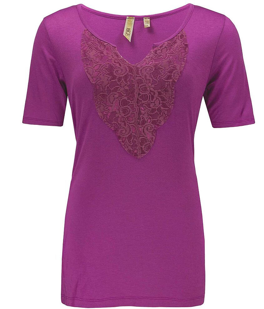 BKE Tonal Lace Top front view