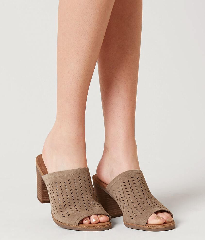 bb96bfa9e50 TOMS Majorca Leather Heeled Mule Sandal - Women s Shoes in Desert Taupe  Suede