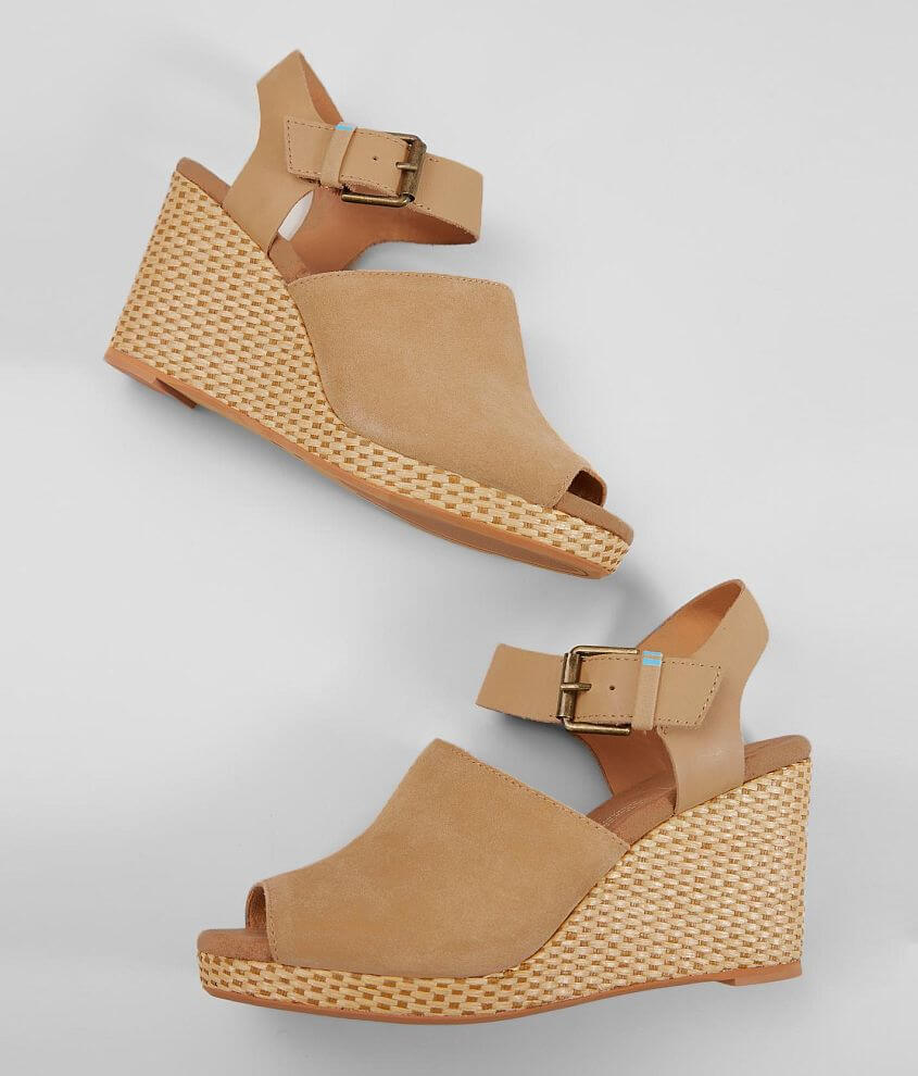 5d48154211b2 TOMS Tropez Leather Wedge Heeled Sandal - Women s Shoes in Honey ...