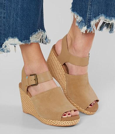 TOMS Tropez Leather Wedge Heeled Sandal