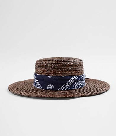 Weaved Straw Boater Hat