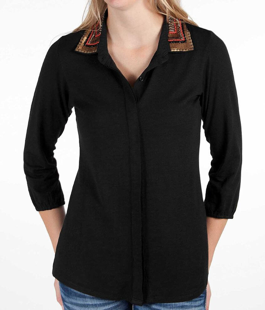 BKE Button Front Shirt front view