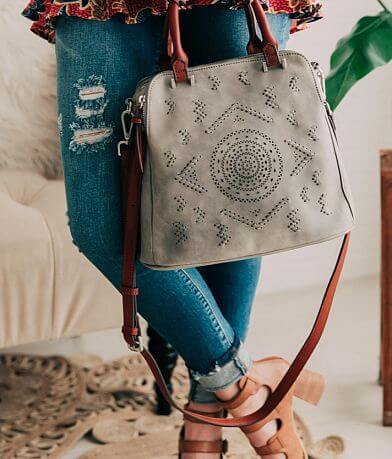 Embroidered Faux Leather Crossbody Purse