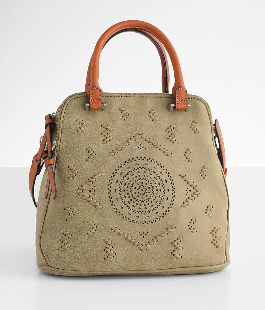 Laser Cut Whipstitch Crossbody Purse front view
