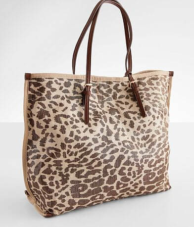 Street Level Metallic Leopard Canvas Tote