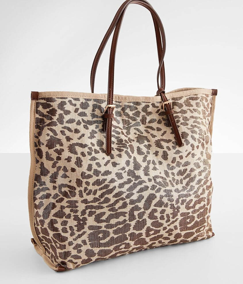 Street Level Metallic Leopard Canvas Tote front view
