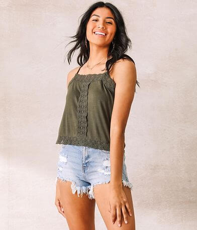 Willow & Root Lace Trim Cropped Tank Top