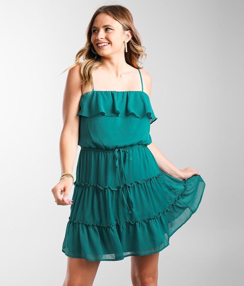 Daytrip Tiered Chiffon Mini Dress front view