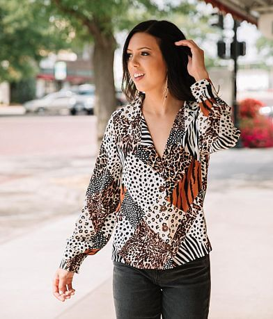 Willow & Root Mixed Animal Print Blouse
