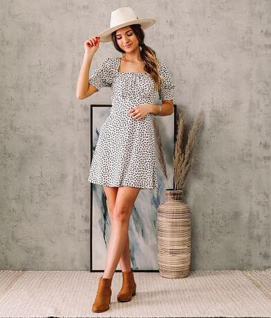 Trixxi Dainty Floral Pleated Chiffon A-Line Dress