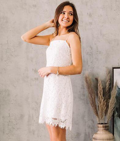 Trixxi Floral Eyelash Lace Mini Dress