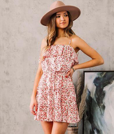 Trixxi Floral Tiered Ruffle Dress