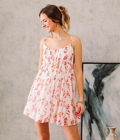 Trixxi Sheer Floral Tiered Overlay Mini Dress