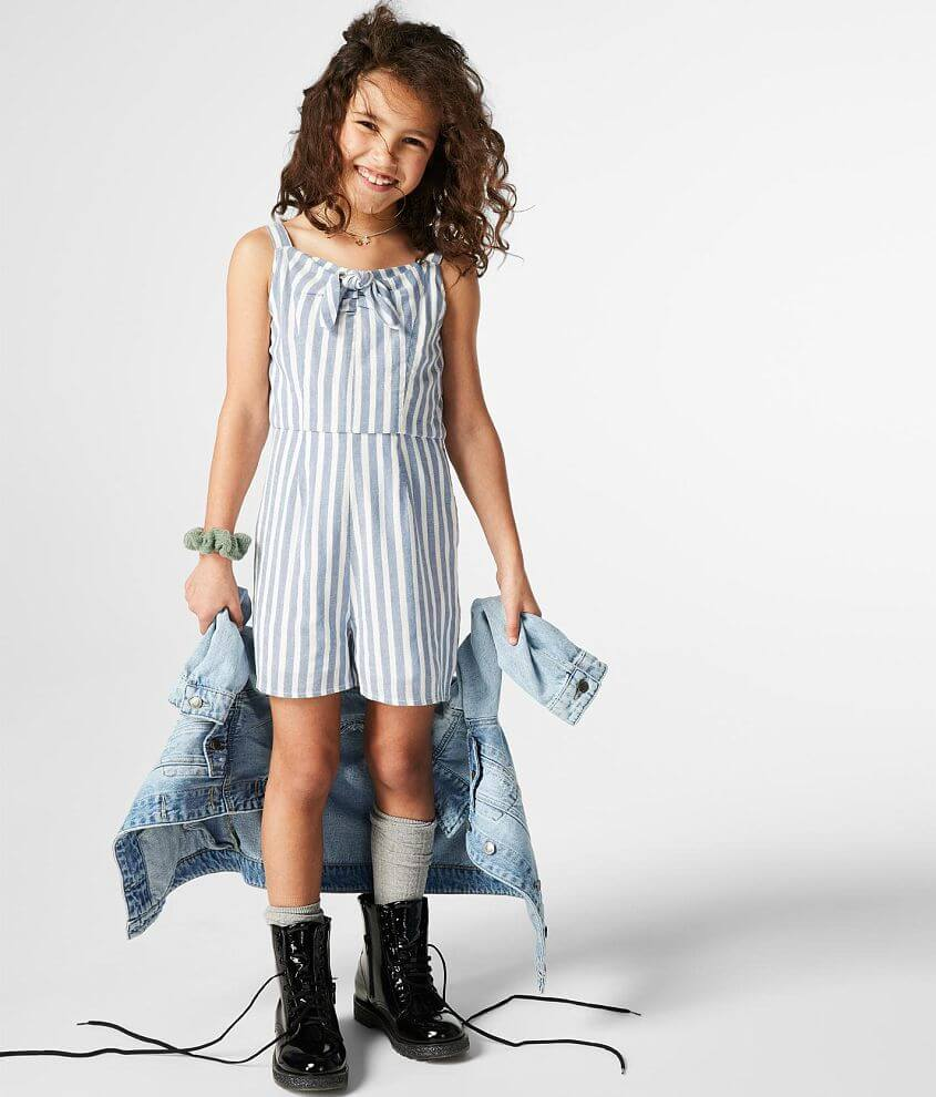 Girls - Daytrip Woven Striped Romper front view