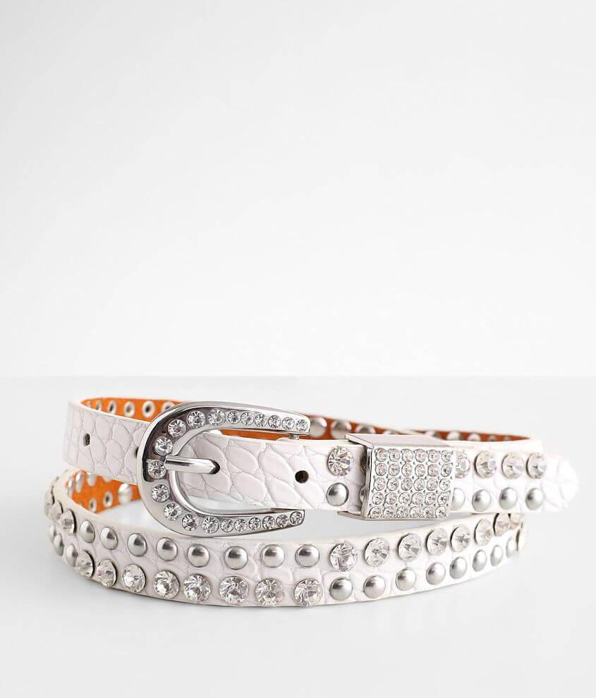 BKE Skinny Glitz Crocodile Print Belt front view