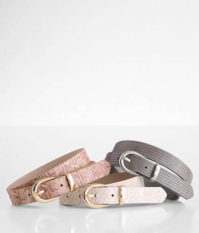 BKE Textured Faux Leather Belt Set
