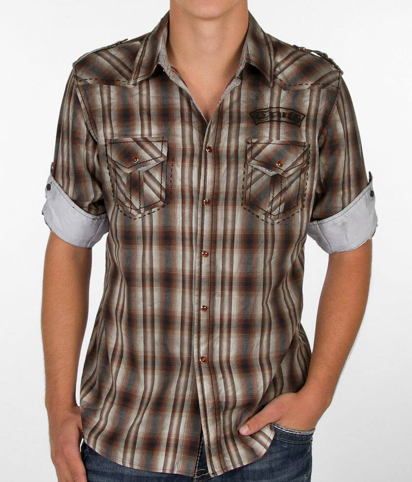 Truth Soul Armor Washed Plaid Shirt front view