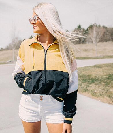 1 Sunset Lane Color Block Windbreaker Jacket