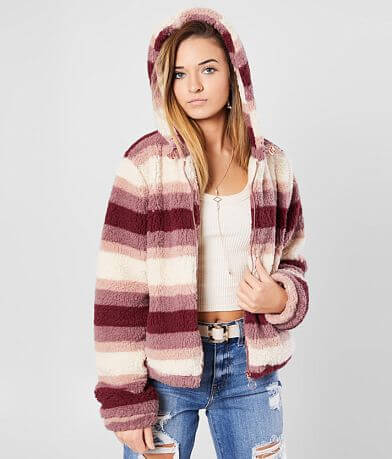 Ashley Fuzzy Sherpa Hooded Jacket