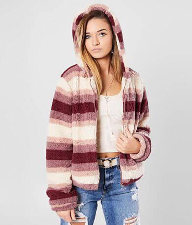 Ashley Fuzzy Sherpa Hooded Jacket
