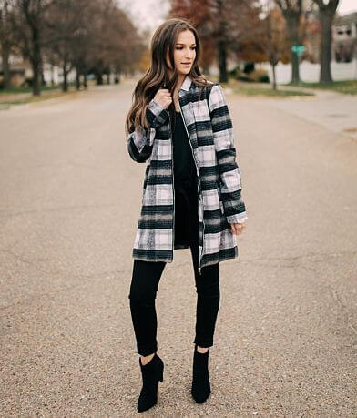 Stoosh Plaid Faux Fur Midi Jacket