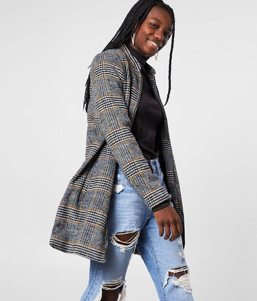 Stoosh Brushed Houndstooth Midi Jacket front view