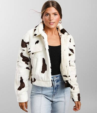 Ashley Cow Print Faux Fur Trucker Jacket