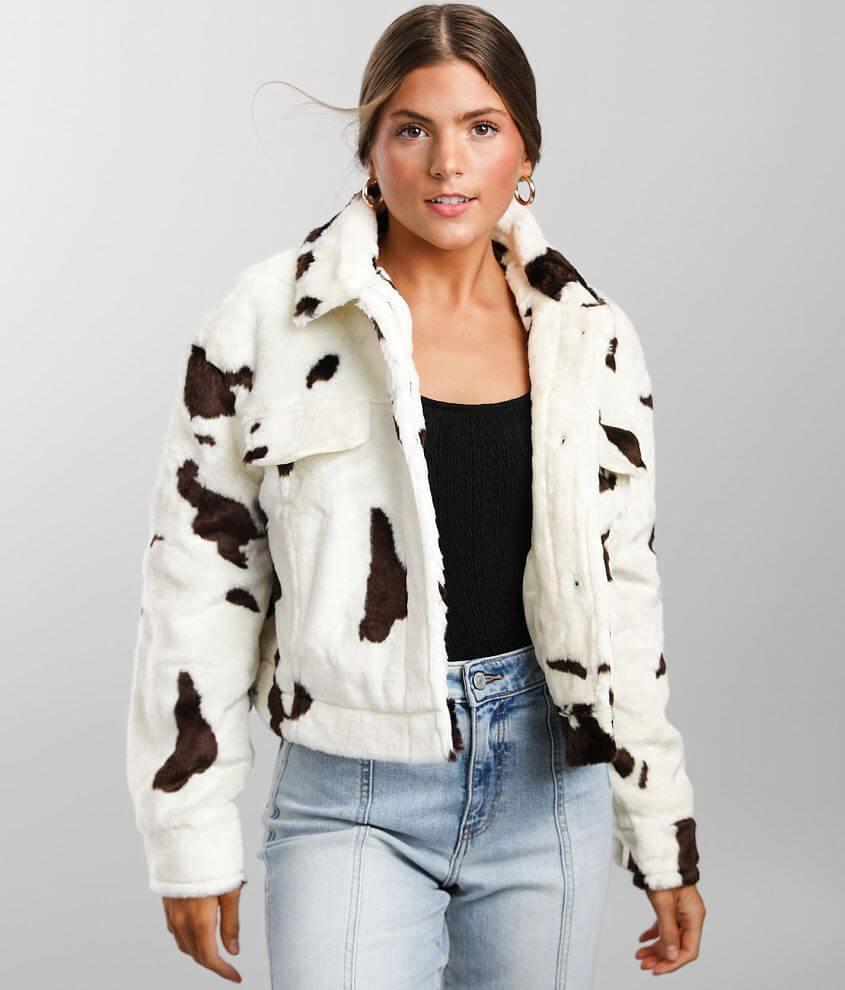 Ashley Cow Print Faux Fur Trucker Jacket front view