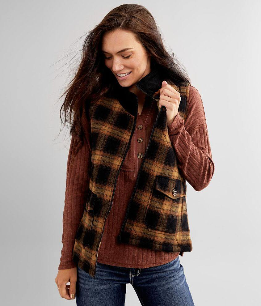 BKE Flannel Puffer Vest front view