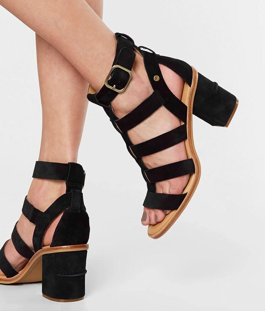 7e41b44893b UGG® Macayla Leather Heeled Sandal - Women's Shoes in Black | Buckle