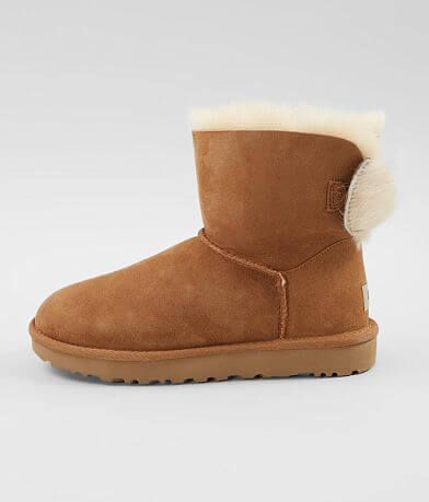 UGG® Fluff Bow Leather Mini Boot
