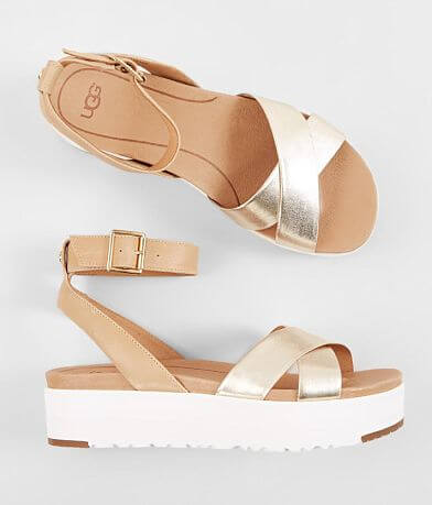 UGG® Tipton Metallic Leather Flatform Sandal
