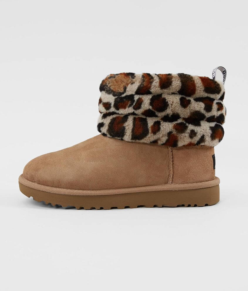 UGG® Fluff Mini Quilted Suede Ankle Boot front view