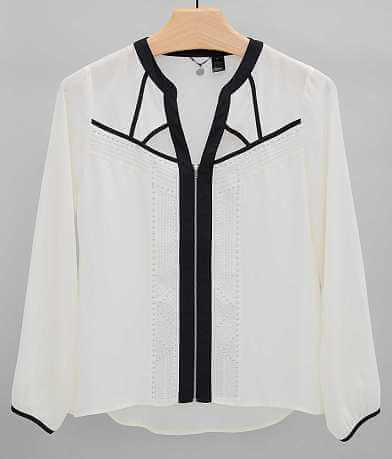 BKE Boutique Zip Front Shirt