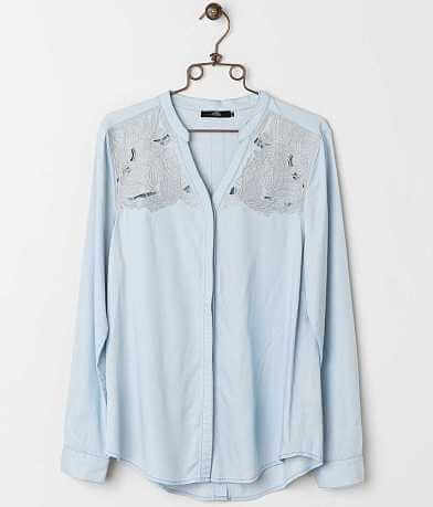 BKE Boutique Metallic Embroidered Shirt