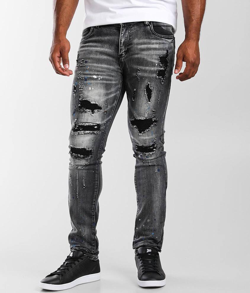 Industrial Indigo Black Skinny Stretch Jean front view