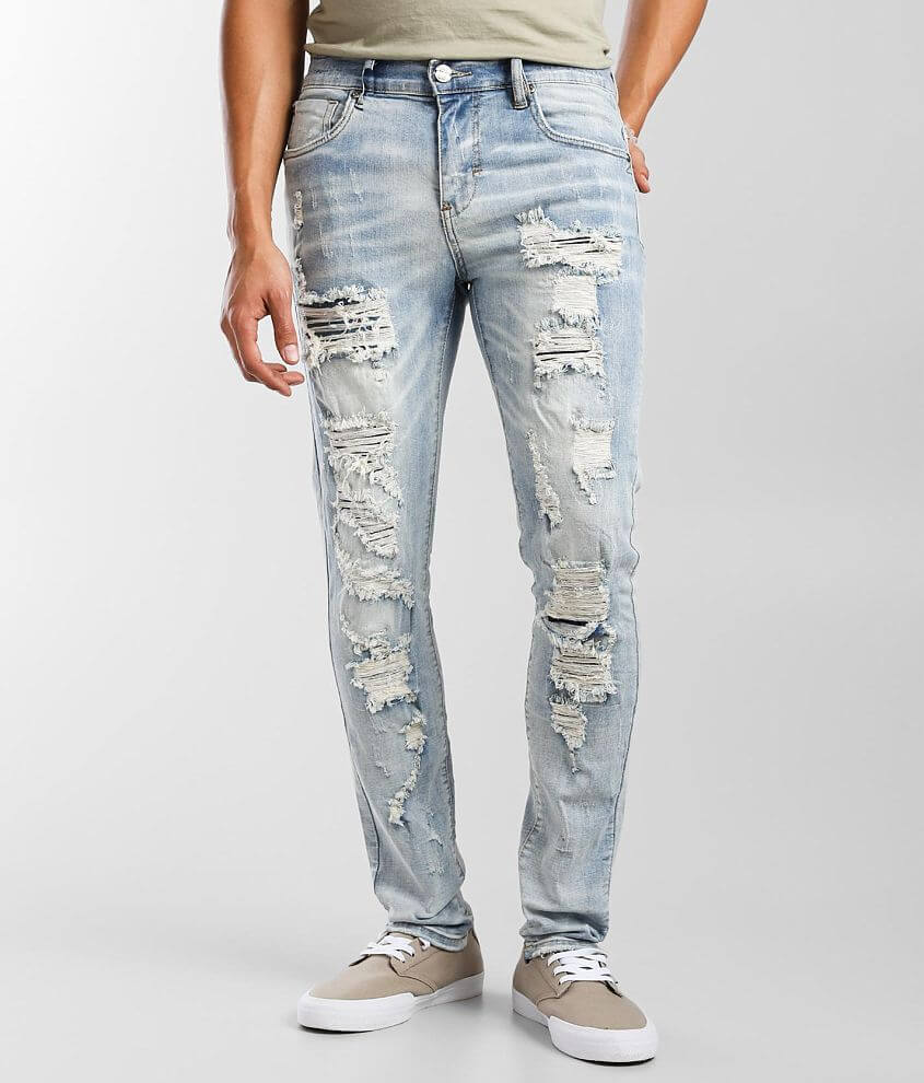 Industrial Indigo Washed Skinny Stretch Jean front view