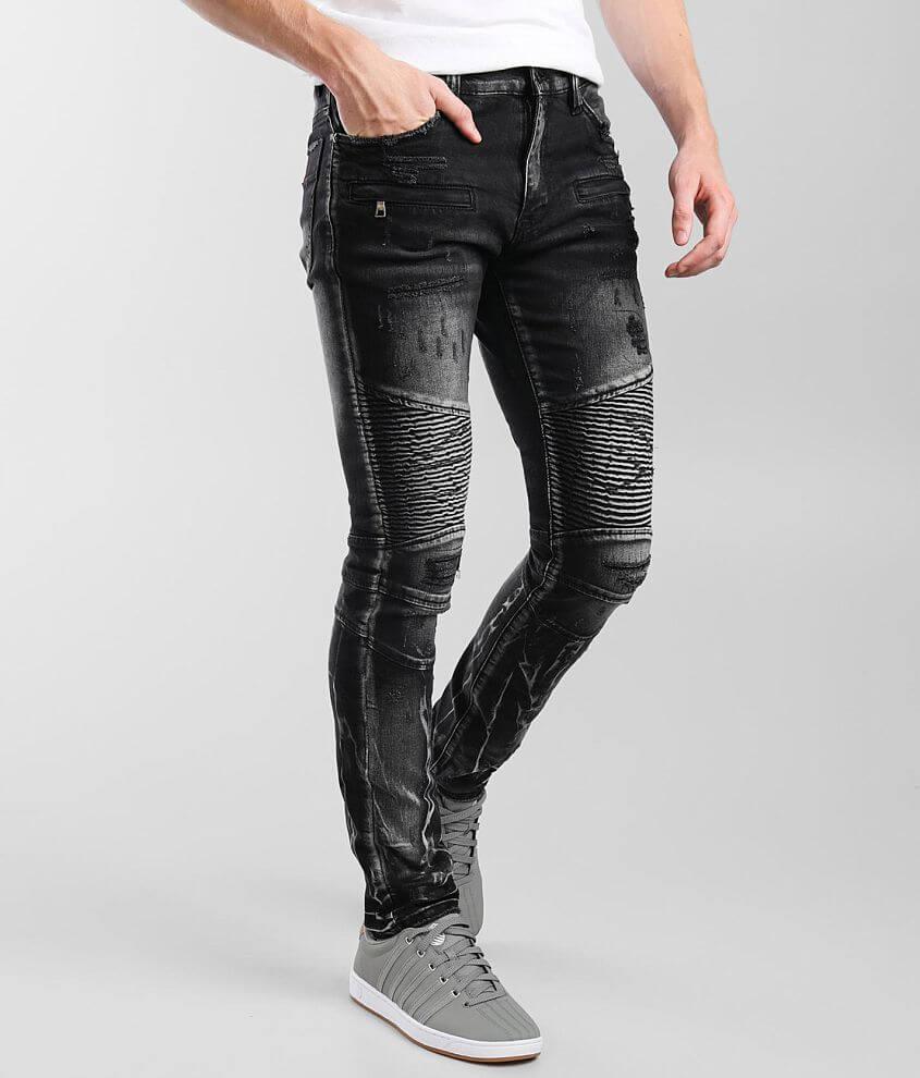 Industrial Indigo Moto Skinny Stretch Jean front view