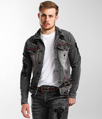 Industrial Indigo Destructed Denim Stretch Jacket