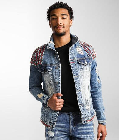 Industrial Indigo Rhinestone Denim Stretch Jacket