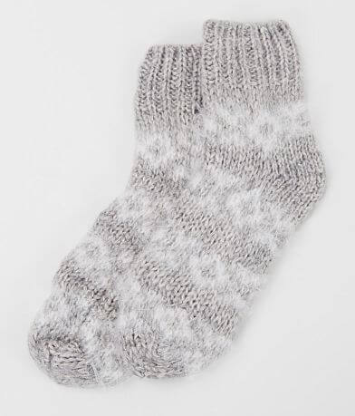 Lemon Sleighride Fuzzy Knit Socks