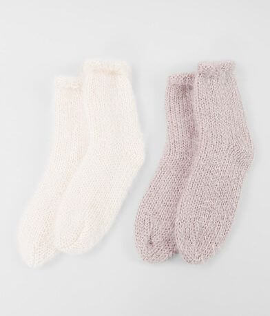 Lemon Eyelash Fuzzy Knit 2 Pack Socks