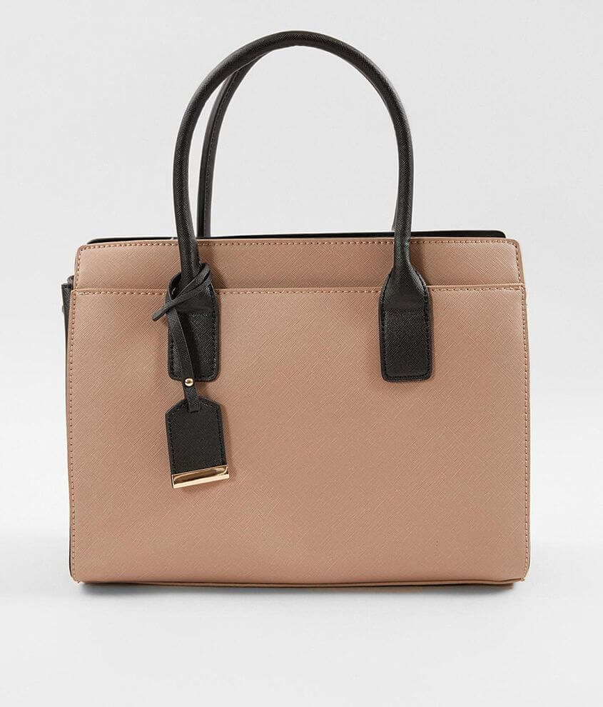 Shop All Brill Boutique Color block vegan leather purse Magnetic snap and zipper closures Interior zipper and two pouch pockets Removable shoulder strap Dimensions: 12\\\