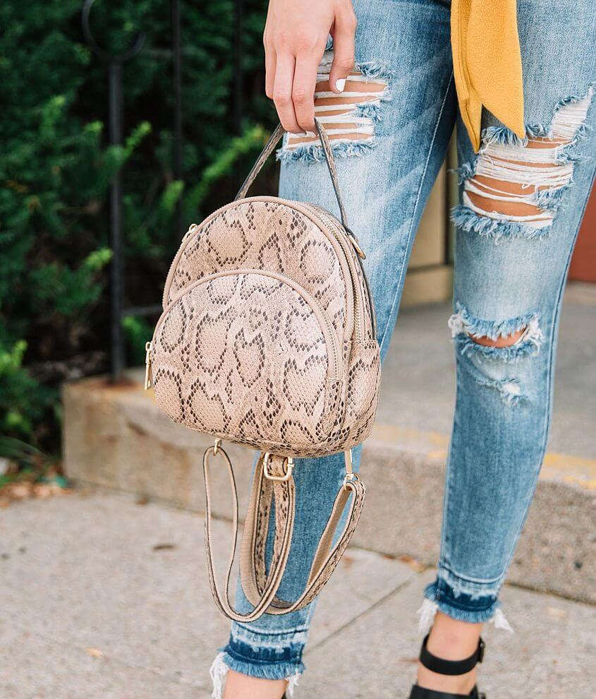 Urban Expressions Faux Snakeskin Mini Backpack front view
