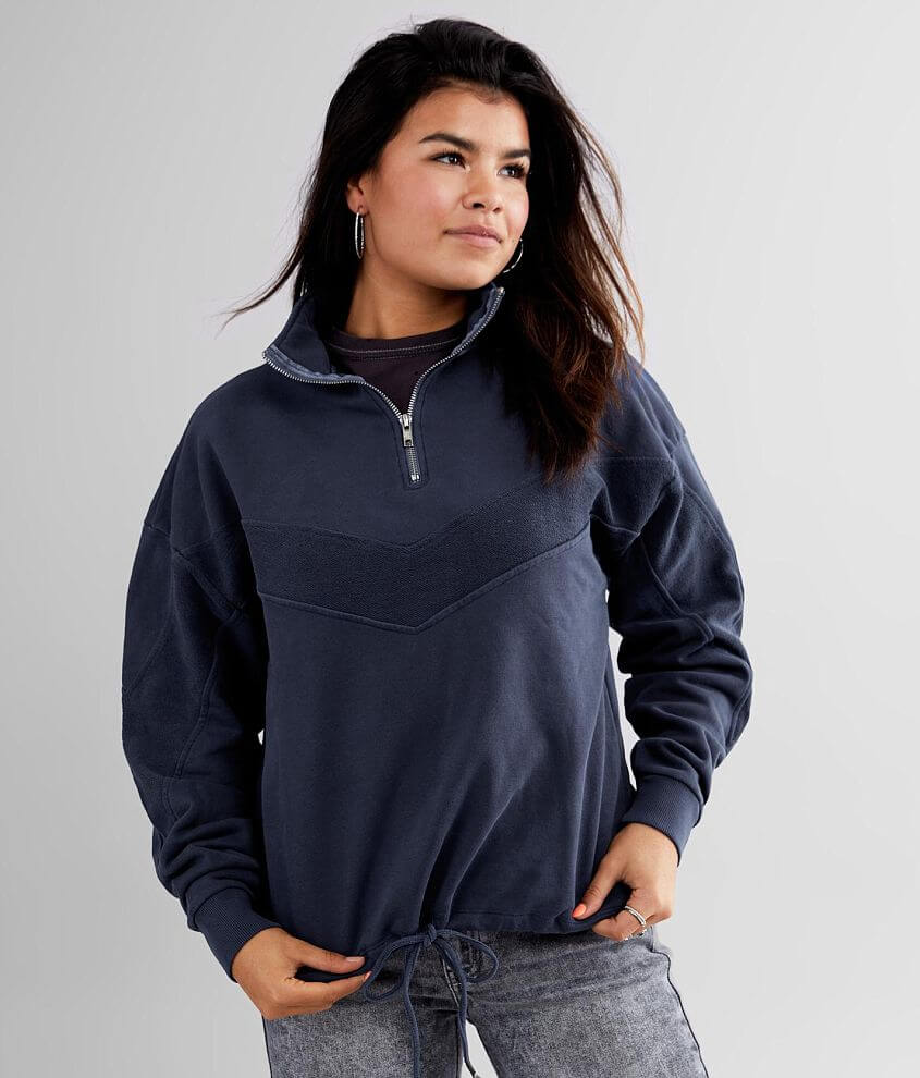 BKE Pieced Quarter Zip Pullover front view