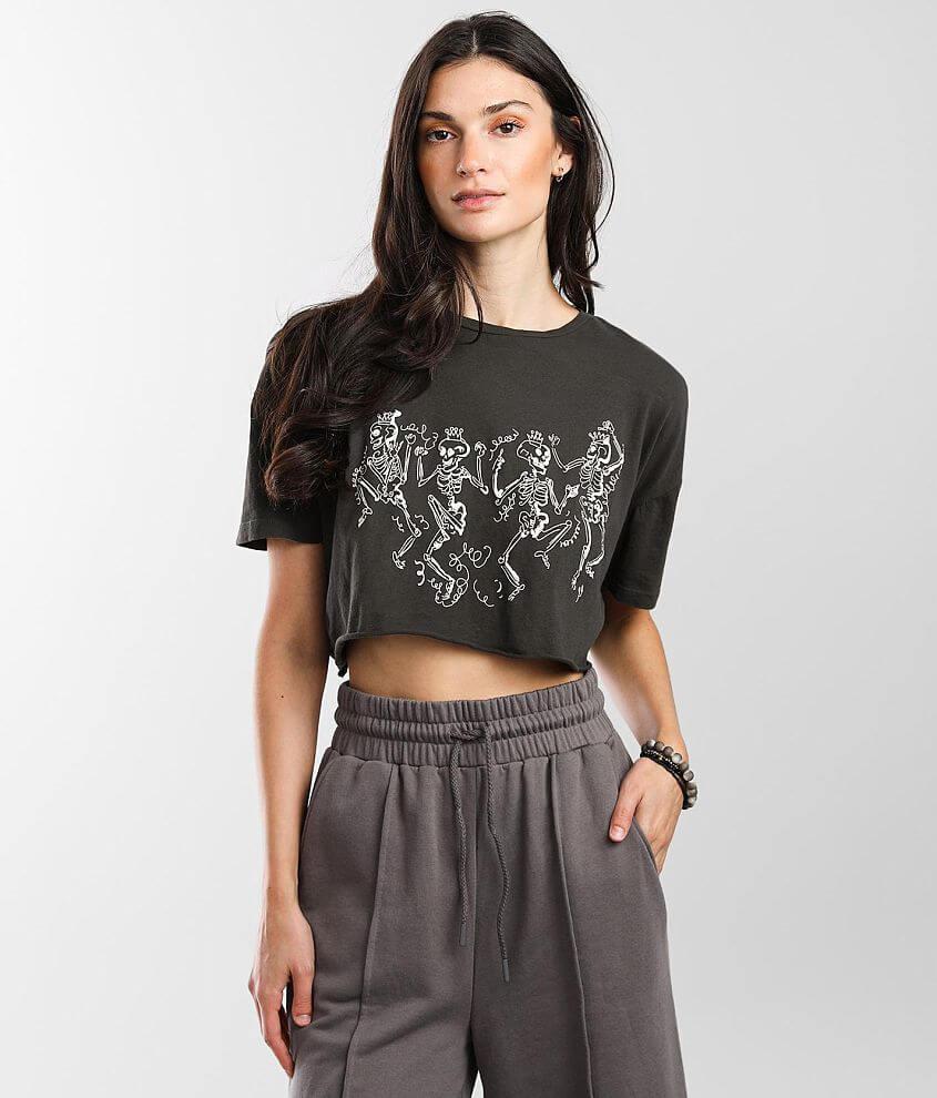 Modish Rebel Dancing Skeletons Cropped T-Shirt front view